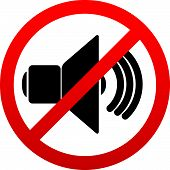 image of noise pollution  - Eps 10 vector Illustrations of Speaker with probition sign - JPG