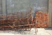 stock photo of reinforcing  - Steel rods used to reinforce concrete and brick construction - JPG