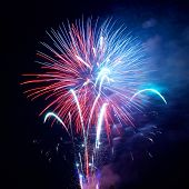 foto of salute  - Fireworks salute with the black sky background - JPG