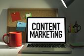 image of marketing plan  - Content marketing concept with laptop in office interior - JPG