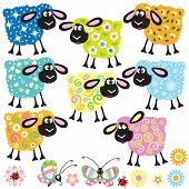 stock photo of baby sheep  - set with colorful decorative sheep for babies and little kids - JPG