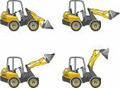 image of steers  - Detailed illustration of skid steer loaders heavy equipment and machinery - JPG
