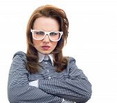 stock photo of frown  - Frowning woman isolated on white background - JPG