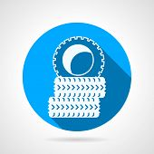 foto of barricade  - Circle blue flat vector icon with white silhouette tires for sport barricade on gray background - JPG