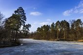 stock photo of paysage  - Park with a frozen lake in early spring - JPG