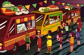 image of food truck  - A vector illustration of people in food truck festival - JPG