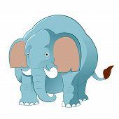 stock photo of elephant ear  - Vector image of a blue Cartoon elephant - JPG