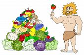 picture of cave-dweller  - vector illustration of a caveman with paleo food pyramid isolated on white - JPG
