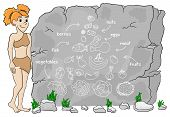pic of cave woman  - vector illustration of a cave woman explains paleo diet using a food pyramid drawn on stone - JPG