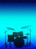 pic of drum-kit  - Silhouette of a rock bands drum kit in halftone set against a half tone blue dot background - JPG