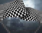 image of sidecar  - Two large Checkered Flag made in 3d software - JPG