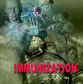 foto of immune  - Human Immune System attack the virus made in 3d software - JPG