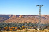 stock photo of utility pole  - utility pole in africa morocco energy and distribution pylon - JPG