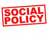 pic of social housing  - SOCIAL POLICY red Rubber Stamp over a white background - JPG