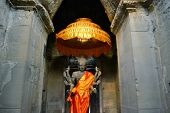 picture of altar  - Ancient Buddhist Altar with Buddha statue at Angkor Wat - JPG