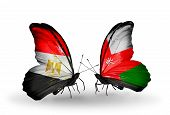 pic of oman  - Two butterflies with flags on wings as symbol of relations Egypt and Oman - JPG