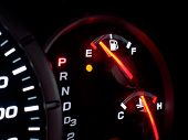 picture of dash  - Out of gas empty on car or vehicle dash board - JPG