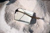 stock photo of salt mine  - The Salt Scoop use for carrying salt in the salt farm - JPG