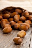 picture of cobnuts  - Hazelnuts in burlap sack on wooden background  - JPG