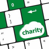 picture of soliciting  - keyboard key for charity  - JPG
