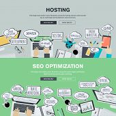 picture of promoter  - Set of flat design illustration concepts for hosting and SEO - JPG