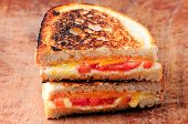 stock photo of tomato sandwich  - a classic grilled cheese and tomato sandwiches - JPG