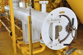 pic of gas-pipes  - Pig luncher in oil and gas industry - JPG