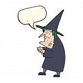 image of ugly  - cartoon ugly old witch with speech bubble - JPG