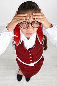 stock photo of schoolgirls  - Beautiful little funny schoolgirl - JPG