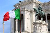 pic of emanuele  - The Piazza Venezia Vittorio Emanuele Monument for Victor Emenuel II in Rome Italy - JPG