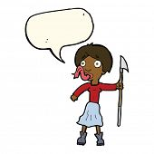 foto of spears  - cartoon woman with spear sticking out tongue with speech bubble - JPG