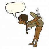 stock photo of valkyrie  - cartoon viking girl bowing with speech bubble - JPG