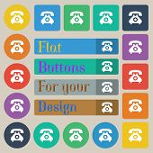 stock photo of rotary dial telephone  - retro telephone handset icon sign - JPG