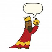 stock photo of wise  - one of the three wise men with speech bubble - JPG