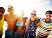 stock photo of bonding  - Diverse People Friends Fun Bonding Beach Summer Concept - JPG