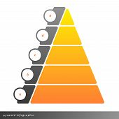 stock photo of pyramid  - Vector pyramid infographic shows growth with gradient fill - JPG