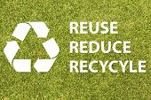 stock photo of reduce  - Recycle logo with text reuse reduce recycle - JPG
