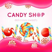 foto of candy  - Candy shop poster with multicolored candies on white and pink background vector illustration - JPG