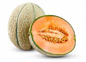 pic of cantaloupe  - Ripe Melon Cantaloupe isolated on white background - JPG