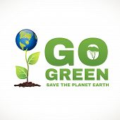 stock photo of save earth  - Go green save the planet earth is world tree - JPG