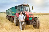 foto of tractor trailer  - Young attractive businessman with laptop standing in front of tractor with trailers on harvested field - JPG