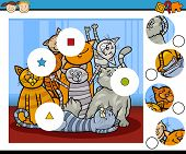 picture of brain-teaser  - Cartoon Illustration of Match the Pieces Educational Game for Preschool Children with Cats Animal Characters - JPG