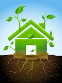 foto of sustainable development  - Stylized plant in shape of home sign in ground - JPG