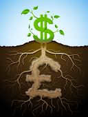 stock photo of bine  - Plant roots and tuber in shape of money symbol - JPG