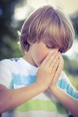 pic of blowing nose  - Little boy blowing his nose on a sunny day - JPG