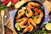 image of tiger prawn  - Fried king prawns on iron pan - JPG