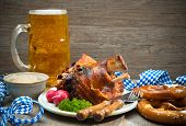 image of pretzels  - Roasted pork knuckle with pretzels and beer - JPG