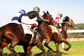 stock photo of blinders  - horse race with thoroughbreds and jockeys on the hippodrom - JPG