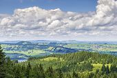 stock photo of bavaria  - View from the climb to the Alpspitz near Nesselwang in the Allgaeu Bavaria Germany - JPG