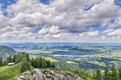 pic of bavaria  - View from the summit of the Alpspitz near Nesselwang in the Allgaeu Bavaria Germany - JPG